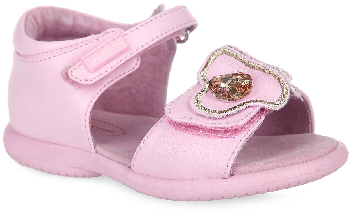 Сандалии для девочки Аллигаша, цвет: розовый. 13-331. Размер 2213-331Очаровательные сандалии от Аллигаша придутся по душе вашей маленькой принцессе и идеально подойдут для повседневной носки в летнюю погоду.Модель выполнена из искусственной кожи. Ремешок на подъеме декорирован прорезиненной нашивкой с названием бренда. Передний ремешок украшен оригинальной аппликацией, оформленной декоративными камнями.Полужесткий закрытый задник и ремешки на застежках-липучках надежно зафиксируют модель на стопе. Подкладка и стелька из натуральной кожи позволяют ножкам дышать. Супинатор на стельке обеспечивает правильное положение ноги ребенка при ходьбе, предотвращает плоскостопие. Подошва с рифлением в виде оригинального рисунка гарантирует отличное сцепление с любой поверхностью.Стильные и удобные сандалии - незаменимая вещь в гардеробе каждой девочки!