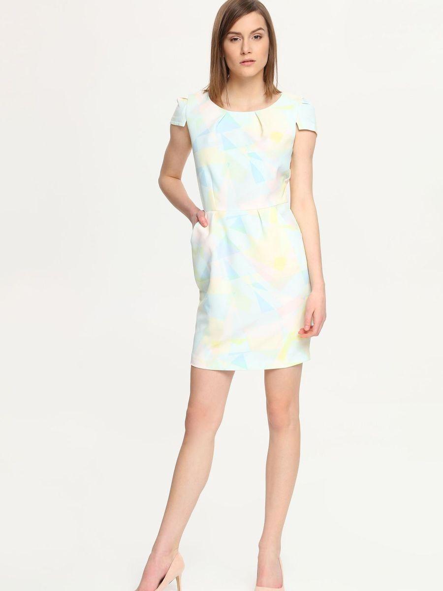 Платье Troll, цвет: светло-желтый, голубой, белый. TSU0502BI. Размер M (46)TSU0502BIПлатье Troll поможет создать яркий и стильный образ. Платье, изготовленное из полиэстера с добавлением эластана, очень мягкое, тактильно приятное, хорошо вентилируется.Модель с круглым вырезом горловины и короткими рукавами-крылышками застегивается сзади на металлическую молнию. Спереди расположены два втачных кармана. Изделие оформлено принтом в светлых тонах. Такое платье займет достойное место в вашем гардеробе, а также подарит вам комфорт в течение всего дня.