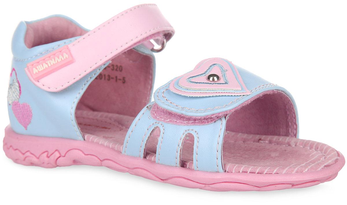 Сандалии для девочки Аллигаша, цвет: голубой, розовый. 13-320. Размер 2613-320Очаровательные сандалии от Аллигаша придутся по душе вашей маленькой принцессе и идеально подойдут для повседневной носки в летнюю погоду.Модель выполнена из искусственной кожи и оформлена на задней поверхности вышивкой в виде сердечек. Передний ремешок декорирован аппликацией в виде сердца с металлической заклепкой посередине.Полужесткий закрытый задник и ремешки на застежках-липучках надежно зафиксируют модель на стопе. Подкладка и стелька из натуральной кожи позволяют ножкам дышать. Супинатор на стельке обеспечивает правильное положение ноги ребенка при ходьбе, предотвращает плоскостопие. Рифленая поверхность подошвы гарантирует отличное сцепление с любой поверхностью.Стильные сандалии - незаменимая вещь в гардеробе каждой девочки!