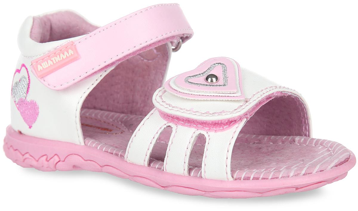 Сандалии для девочки Аллигаша, цвет: белый, розовый. 13-320. Размер 2313-320Очаровательные сандалии от Аллигаша придутся по душе вашей маленькой принцессе и идеально подойдут для повседневной носки в летнюю погоду.Модель выполнена из искусственной кожи и оформлена на задней поверхности вышивкой в виде сердечек. Передний ремешок декорирован аппликацией в виде сердца с металлической заклепкой посередине.Полужесткий закрытый задник и ремешки на застежках-липучках надежно зафиксируют модель на стопе. Подкладка и стелька из натуральной кожи позволяют ножкам дышать. Супинатор на стельке обеспечивает правильное положение ноги ребенка при ходьбе, предотвращает плоскостопие. Рифленая поверхность подошвы гарантирует отличное сцепление с любой поверхностью.Стильные сандалии - незаменимая вещь в гардеробе каждой девочки!
