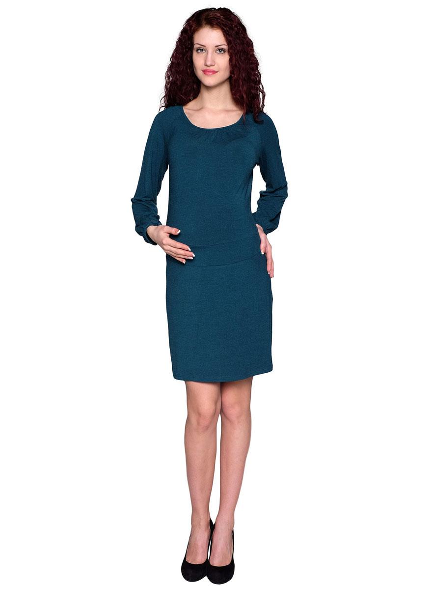 Платье для беременных Фэст, цвет: зеленый. 61514Е. Размер XXL (52)61514ЕПолуприлегающее платье с рукавом-реглан из качественного трикотажного полотна прекрасно подойдет для повседневной носки. По линии горловины и низу рукавов выполнена мягкая сборка. Фэст - одежда по вашей фигуре.
