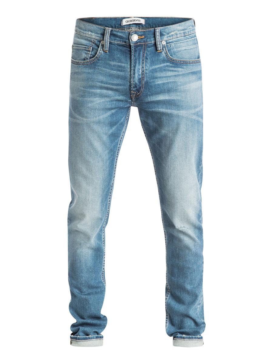 Джинсы мужские Quiksilver, цвет: синий. EQYDP03173-BEZW. Размер 28 (44)EQYDP03173-BEZWМужские джинсы Quiksilver выполнены из хлопка с добавлением эластана. Джинсы-слим по поясу застегиваются на пуговицу и имеют гульик на застежке-молнии. Пояс дополнен шлевками для ремня. Спереди расположено три втачных кармана и один маленький накладной. а сзади - два накладных кармана. Изделие оформлено потёртостями и контрастной отстрочкой.