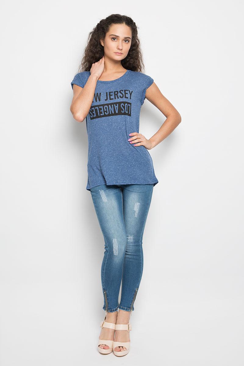 Футболка женская Moodo, цвет: синий меланж. L-TL-2001 BLUE MEL. Размер M (46)L-TL-2001_BLUE_MELЖенская футболка Moodo, изготовленная на 85% из полиэстера и на 15% из льна, станет отличным дополнением к вашему гардеробу. Материал изделия очень мягкий и приятный на ощупь, не сковывает движения.Модель с круглым вырезом горловины и короткими рукавами оформлена спереди надписями. На рукавах предусмотрены декоративные отвороты. Спинка немного удлинена. Современный дизайн и расцветка делают эту футболку стильным предметом женской одежды. Такая модель подарит вам комфорт в течение всего дня.