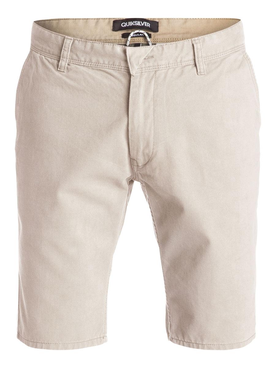 Бермуды мужские Quiksilver, цвет: бежевый. EQYWS03163-THZ0. Размер 30 (46)EQYWS03163-THZ0Стильные мужские шорты Quiksilver выполнены из натурального хлопка. Модельпрямого покроя с ширинкой на застежке-молнии на талии застегивается напуговицу, имеются шлевки для ремня. Спереди шорты дополнены двумя втачнымикарманами с косыми краями, сзади имеются два прорезных кармана с клапанами на пуговицах.