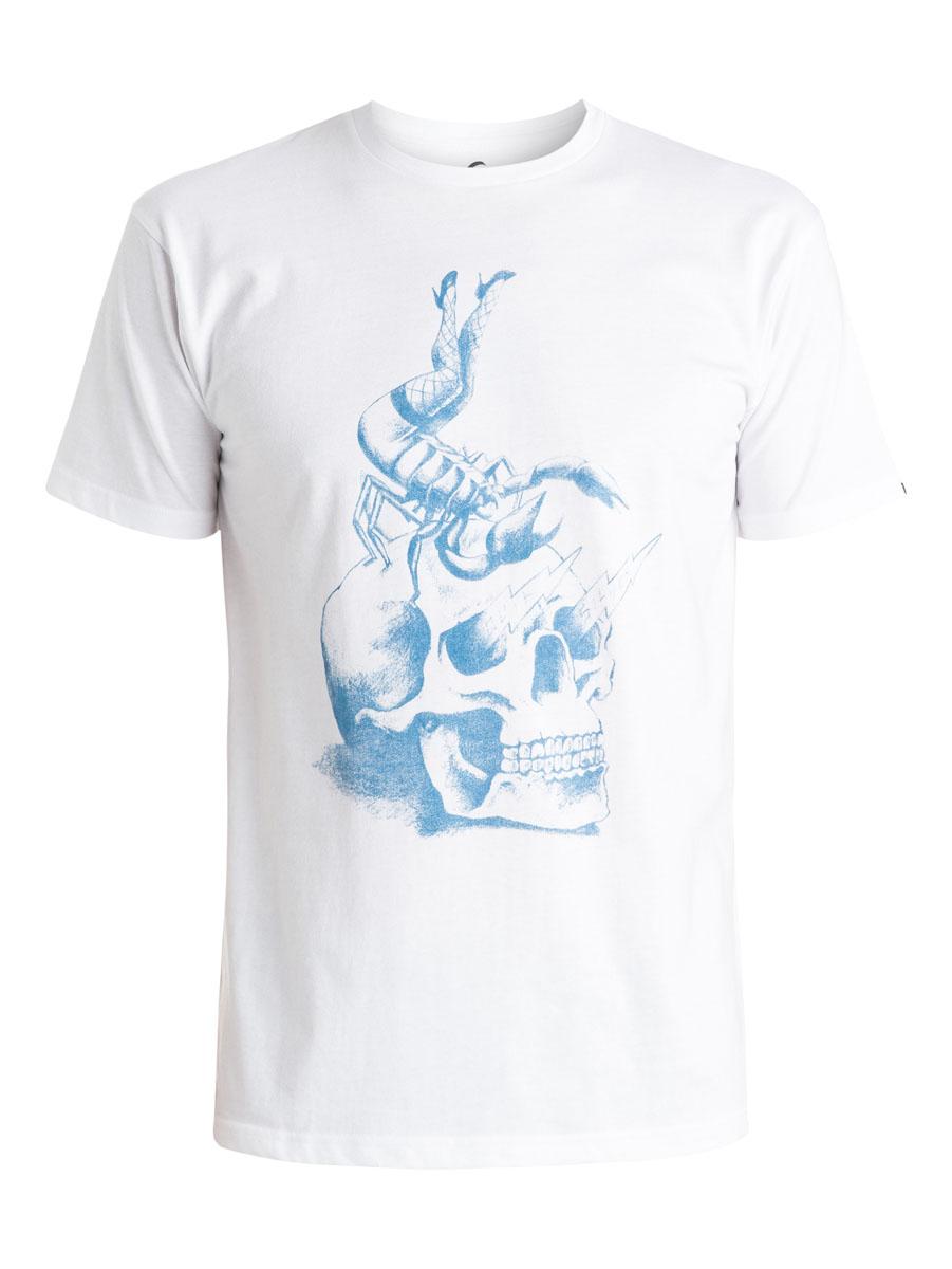 Футболка мужская Quiksilver, цвет: белый. EQYZT03638-WBB0. Размер XS (44)EQYZT03638-WBB0Мужская футболка Quiksilver выполнена из натурального хлопка. Модель с круглым вырезом горловины и короткими рукавами оформлена оригинальным принтом с изображением черепа. Горловина дополнена трикотажной резинкой.
