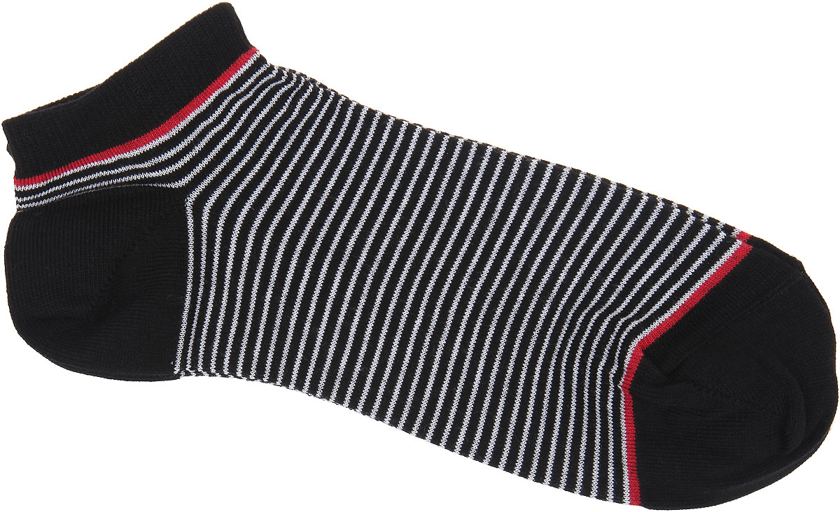 Носки женские Alla Buone, цвет: черный. CD014. Размер 23 (35-37)CD014Удобные носки Alla Buone, изготовленные из высококачественного комбинированного материала, очень мягкие и приятные на ощупь, позволяют коже дышать. Эластичная резинка плотно облегает ногу, не сдавливая ее, обеспечивая комфорт и удобство. Модель с укороченным паголенком, оформлена принтом в полоску. Практичные и комфортные носки великолепно подойдут к любой вашей обуви.