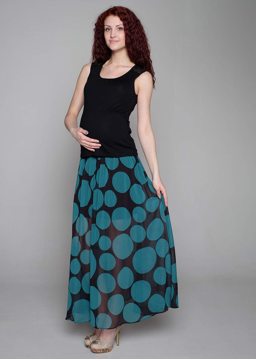 Юбка для беременных Фэст, цвет: черный, зеленый. 91518. Размер XS (42)91518Легкая юбка в пол из шифона на подкладке благодаря эластичному поясу обеспечит комфорт для животика в период ожидания малыша. Фэст — одежда по вашей фигуре.