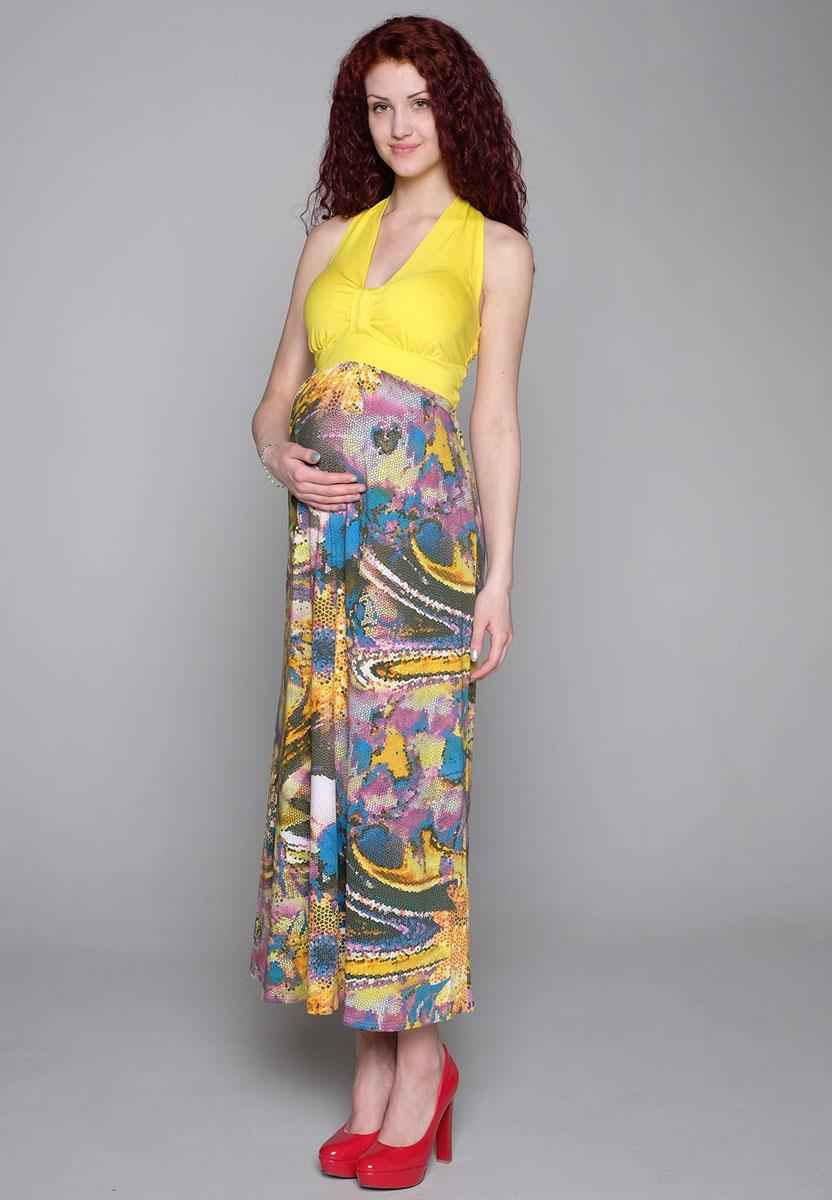 Сарафан для беременных Фэст, цвет: желтый, фиолетовый. 129528. Размер XL (50)129528Летний сарафан для будущих мамочек с открытой спинкой и завязками, обеспечит комфорт в жаркую погоду. Фэст — одежда по вашей фигуре.