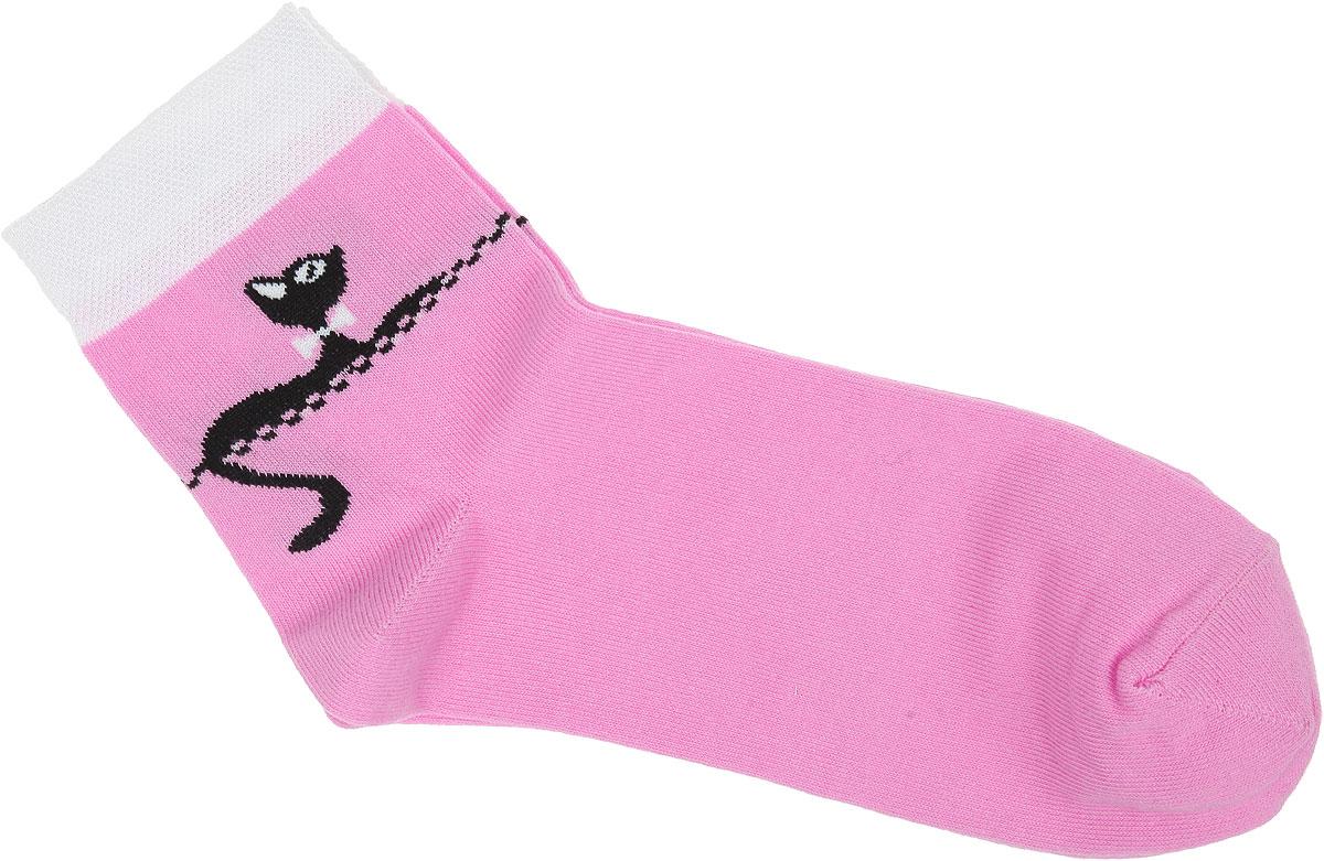 Носки женские Alla Buone, цвет: розовый. CD015. Размер 23 (35-37)CD015Удобные носки Alla Buone, изготовленные из высококачественного комбинированного материала, очень мягкие и приятные на ощупь, позволяют коже дышать. Эластичная контрастная резинка плотно облегает ногу, не сдавливая ее, обеспечивая комфорт и удобство. Носки с паголенком классической длины оформлены рисунком с изображением кошки. Практичные и комфортные носки великолепно подойдут к любой вашей обуви.