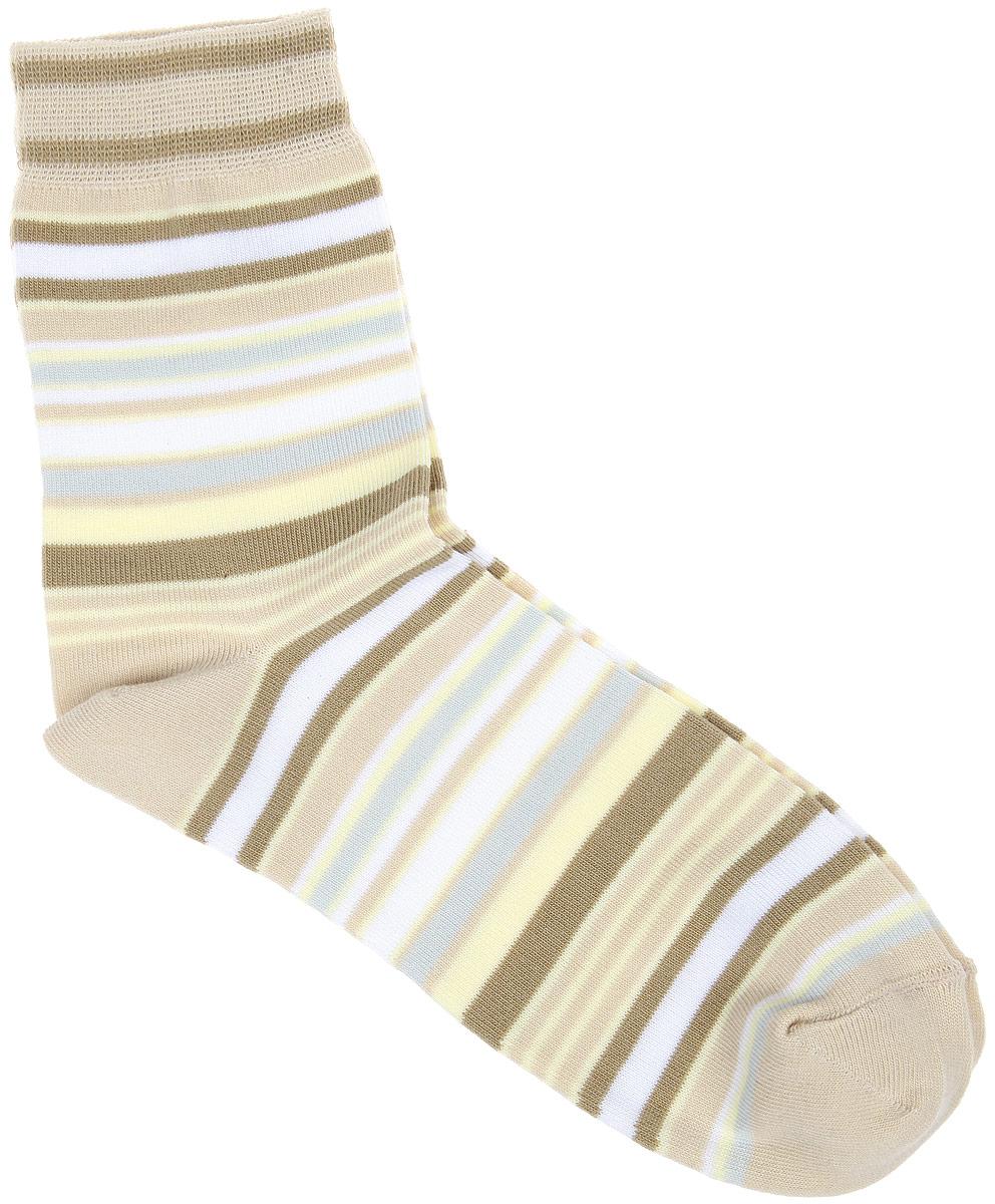 Носки женские Alla Buone, цвет: кремовый. CD006. Размер 25 (38-40)006CDУдобные носки Alla Buone, изготовленные из высококачественного комбинированного материала, очень мягкие и приятные на ощупь, позволяют коже дышать. Эластичная резинка плотно облегает ногу, не сдавливая ее, обеспечивая комфорт и удобство. Носки с паголенком классической длины оформлены рисунком в полоску. Практичные и комфортные носки великолепно подойдут к любой вашей обуви.