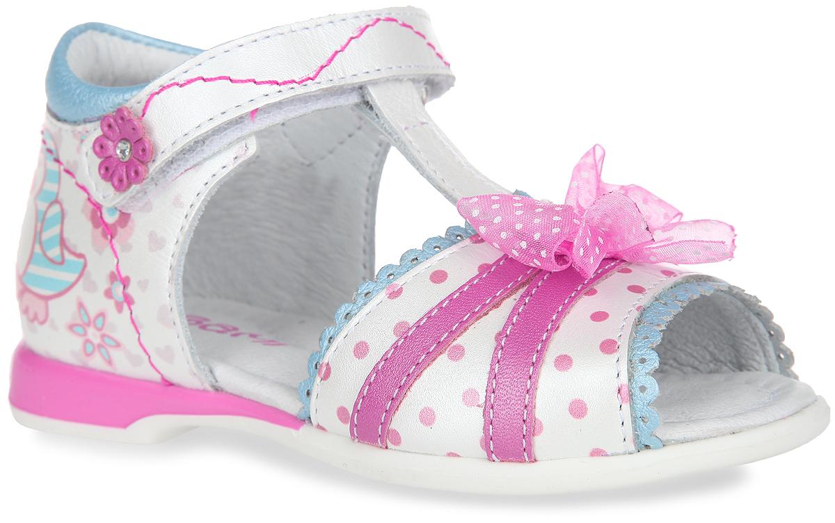 Сандалии для девочки Elegami, цвет: перламутровый, розовый, голубой. 7-804561601. Размер 217-804561601Потрясающие сандалии от Elegami придутся по душе вашей маленькой принцессе и идеально подойдут для повседневной носки в летнюю погоду.Модель выполнена из натуральной кожи и оформлена спереди узором в горох, текстильным бантиком, волнообразной окантовкой с перфорацией. Задняя поверхность изделия декорирована принтом с изображением очаровательных птичек. Ремешок на застежке-липучке, украшенный аппликацией в виде цветочка со стразом, надежно зафиксирует модель на стопе. Подкладка и стелька из натуральной кожи позволяют ножкам дышать. Супинатор на стельке обеспечивает правильное положение ноги ребенка при ходьбе, предотвращает плоскостопие. Подошва с рифлением в виде цветочного рисунка гарантирует отличное сцепление с любой поверхностью.Стильные и практичные сандалии - незаменимая вещь в гардеробе каждой девочки!