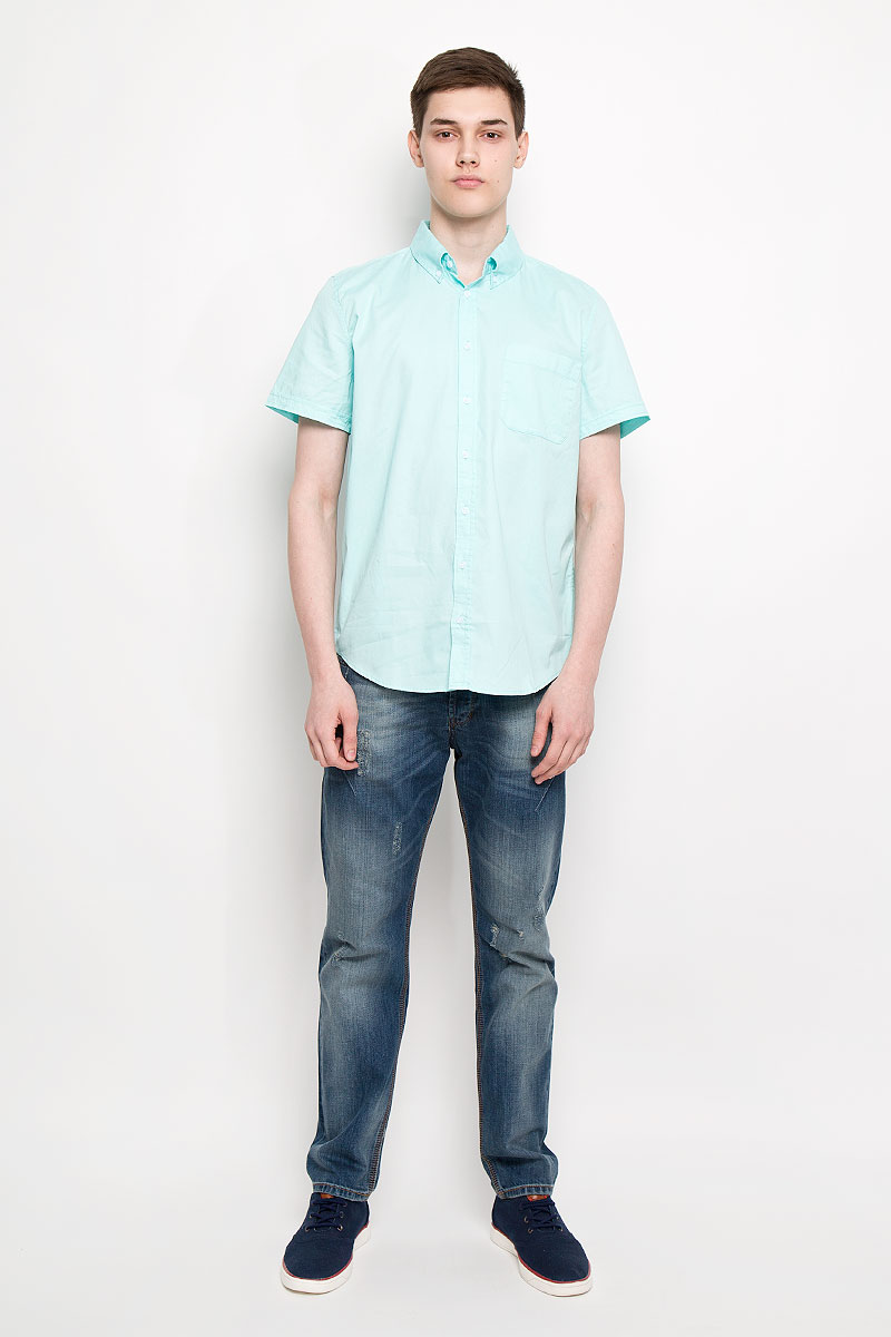 Рубашка мужская Sela, цвет: голубой. Hs-212/678-6217. Размер 40 (46)Hs-212/678-6217Мужская рубашка Sela, выполненная из натурального хлопка, идеально дополнит ваш образ. Материал мягкий и приятный на ощупь, не сковывает движения и позволяет коже дышать.Рубашка классического кроя с короткими рукавами и отложным воротником застегивается на пуговицы по всей длине. На груди модель дополнена накладным карманом.Такая модель будет дарить вам комфорт в течение всего дня и станет стильным дополнением к вашему гардеробу.