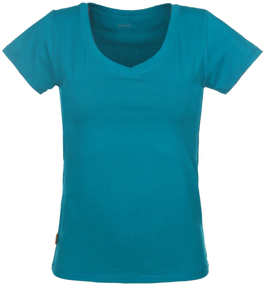 Футболка женская Alla Buone Liscio, цвет: изумрудный. 7047. Размер L (46/48)7047Женская футболка Alla Buone Liscio, выполненная из эластичного хлопка, идеально подойдет для повседневной носки. Материал изделия мягкий, тактильно приятный, не сковывает движения и позволяет коже дышать.Футболка с V-образным вырезом горловины и короткими рукавами имеет слегка приталенный силуэт. Вырез горловины оформлен мягкой окантовочной лентой. Изделие дополнено фирменным логотипом, вшитым в боковой шов.Такая модель будет дарить вам комфорт в течение всего дня и станет отличным дополнением к вашему гардеробу.