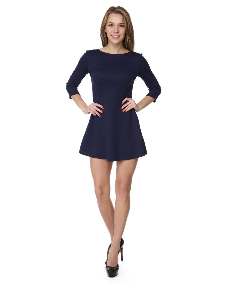 Платье Rocawear, цвет: темно-синий. RC041413. Размер M (46)RC041413Платье с облегающим верхом и свободной юбкой выполнено из качественного комбинированного материала.Платье с круглым вырезом горловины и рукавами ? сбоку дополнено потайной застежкой-молнией.