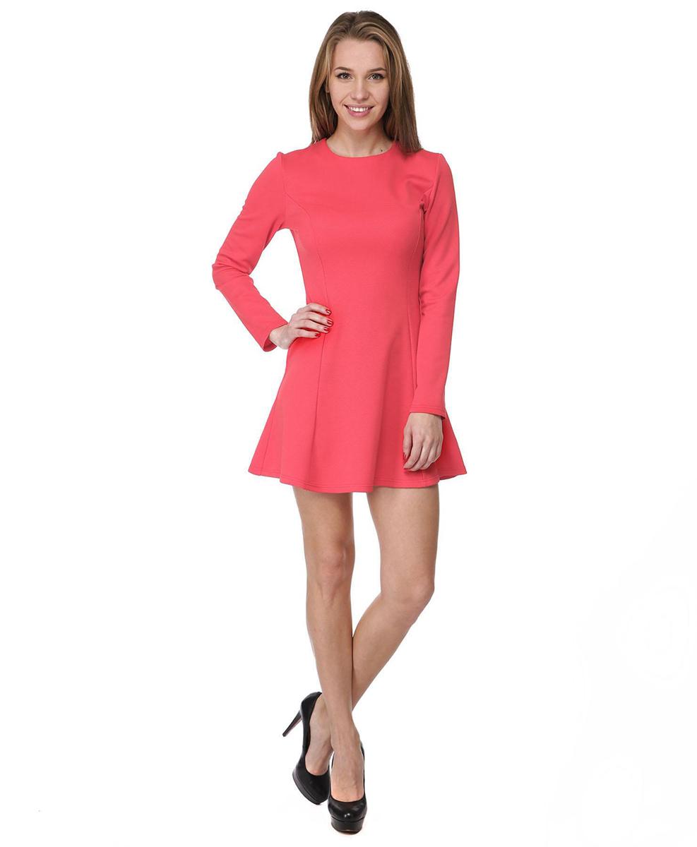 Платье Rocawear, цвет: красный. RC041410. Размер XS (42)RC041410Платье А-силуэта Rocawear выполнено из качественного комбинированного материала.Платье с круглым вырезом горловины и длинными рукавами в среднем шве на спинке дополнено потайной застежкой-молнией.