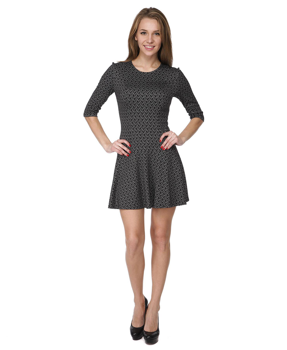 Платье Rocawear, цвет: черный, белый. RC041406. Размер L (48)RC041406Платье с приталенным силуэтом и расклешенной юбкой выполнено из качественного комбинированного материала.Платье с круглым вырезом горловины и рукавами 3/4 в среднем шве на спинке дополнено потайной застежкой-молнией.