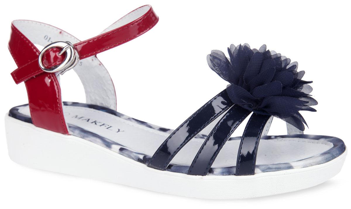 Босоножки для девочки MakFly, цвет: темно-синий, красный. 01-456-040. Размер 3401-456-040Очаровательные босоножки на невысокой платформе от MakFly придутся по душе вашей маленькой моднице и идеально подойдут для повседневной носки в летнюю погоду! Модель с открытой пяткой и мыском выполнена из искусственной лакированной кожи контрастных цветов и оформлена на передних ремешках роскошным объемным цветком из текстиля. Ремешок с металлической пряжкой, застегивающийся на крючок, надежно зафиксирует модель на ноге ребенка. Подкладка и стелька, выполненные из натуральной кожи, обеспечат комфорт и уют. Рифленая поверхность подошвы обеспечит отличное сцепление с различными поверхностями. Стильные босоножки - незаменимая вещь в гардеробе каждой девочки!