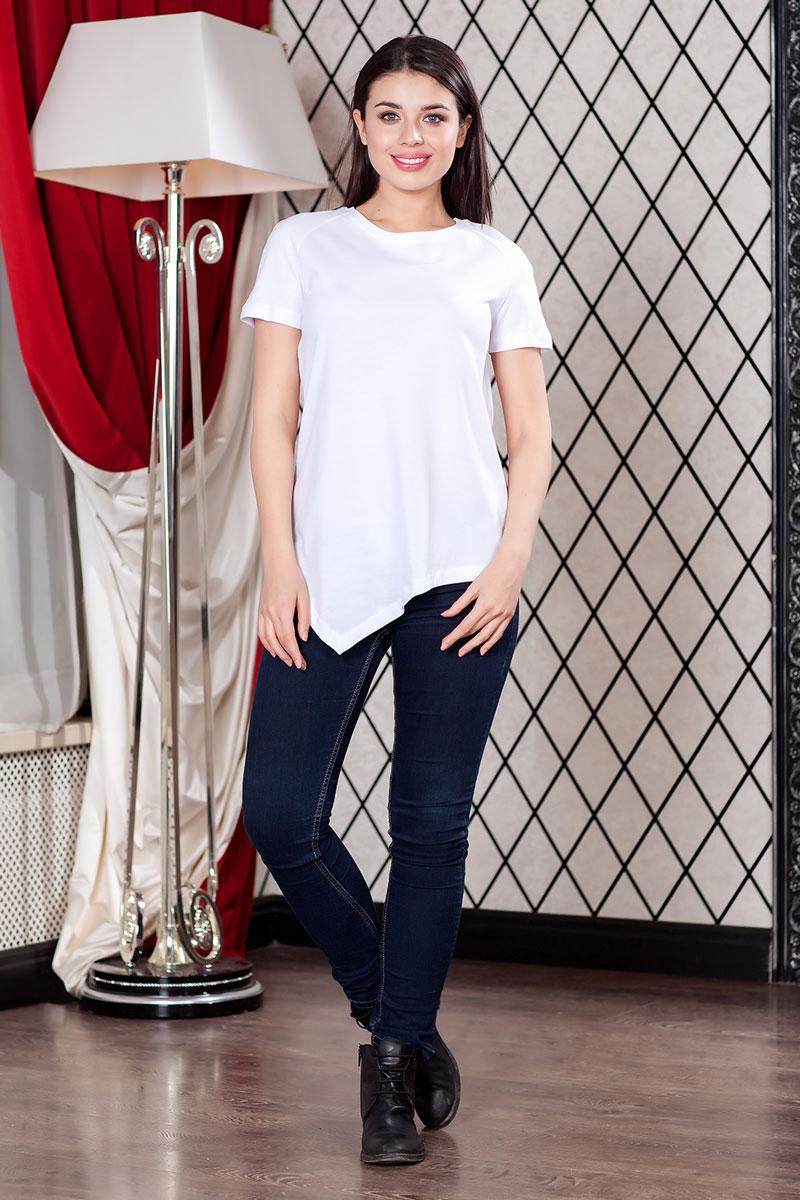 Футболка женская Ruxara, цвет: белый. 1202700_1. Размер 441202700_1Женская футболка Ruxara, выполненная из вискозы с добавлением лайкры, поможет создать отличный современный образ в стиле Casual. Футболка свободного покроя с круглым вырезом горловины и короткими рукавами-реглан спереди имеет ассиметричную линию низа.Такая футболка станет стильным дополнением к вашему гардеробу, она подарит вам комфорт в течение всего дня!