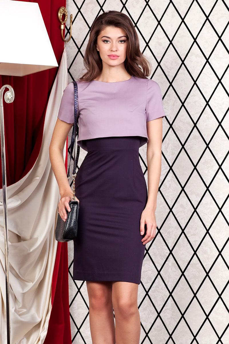 Платье Ruxara, цвет: темно-фиолетовый. 4800301_75. Размер 484800301_75Элегантный костюм состоит из платья и болеро. Платье прямое длиной до колена без рукавов, отрезное по линии талии. V-образный вырез горловины. Сзади застежка молния и шлица. Болеро короткое прямое на подкладке с коротким рукавом. Болеро сзади пристегивается к платью на две пуговицы.