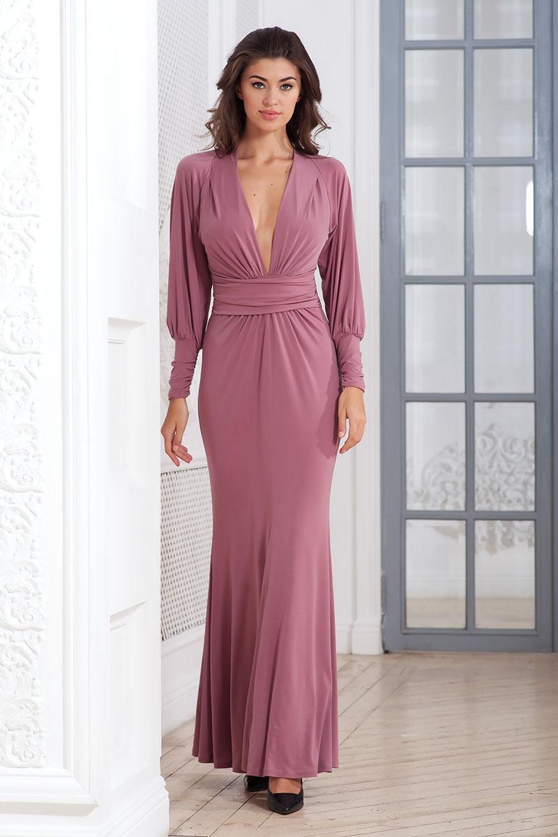 Платье Ruxara, цвет: сиренево-розовый. 106100_66. Размер 48106100_66Стильное платье-макси Ruxara, выполненное из высококачественного комбинированного материала, поможет создать отличный современный образ.Модель приталенного силуэта с глубоким V-образным вырезом горловины и длинными рукавами-реглан. Низ рукавов дополнен широкими манжетами, которые собраны на резинку. Изделие по талии оформлено широким поясом со сборкой.Такое платье поможет создать яркий и привлекательный образ, в нем вам будет удобно и комфортно.