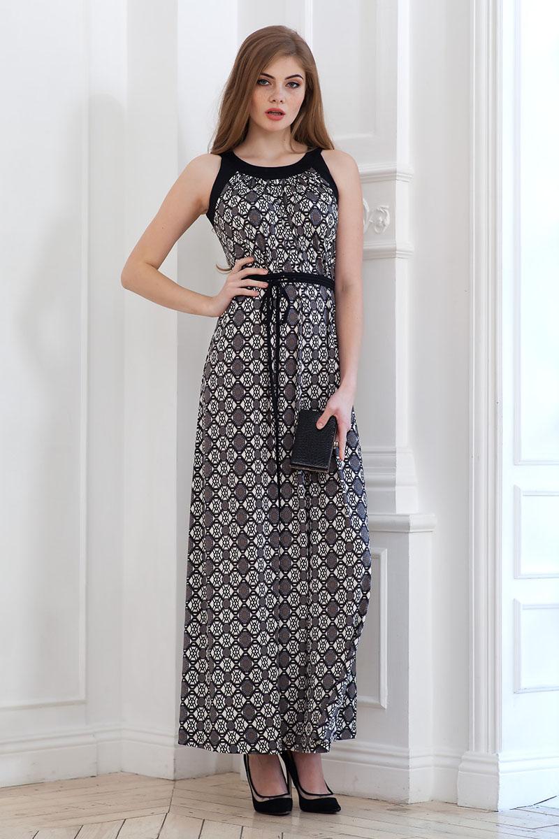 Платье Ruxara, цвет: серый. 107900_11. Размер 46107900_11Элегантное платье из струящегося принтового трикотажа длиной в пол с контрастной отделкой по горловине и проймам. На талии завязывается шнурок в несколько рядов.