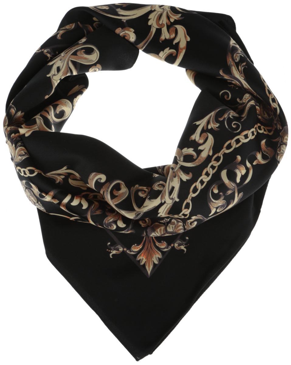 Платок женский Venera, цвет: черный. 3904472-5. Размер 90 см х 90 см3904472-5Стильный женский платок Venera изготовлен из качественного и легкого полиэстера, будет самым универсальным вариантом для повседневного аксессуара.Великолепный насыщенный цвет и оригинальный принт, напоминающий узор аристократичного стиля, будут придавать любому вашему наряду изысканности, подчеркивать женственность и стильность.Классическая квадратная форма позволяет носить платок на шее, украшать им прическу или декорировать сумочку.Такой платок превосходно дополнит любой наряд и подчеркнет ваш неповторимый вкус и элегантность.