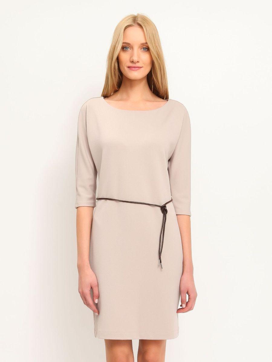 Платье Top Secret, цвет: серо-бежевый. SSU1458BE. Размер 34 (40)SSU1458BEПлатье Top Secret станет стильным дополнением к вашему гардеробу. Платье, изготовленное из мягкой эластичной вискозы с добавлением полиэстера, тактильно приятное, хорошо вентилируется.Модель с круглым вырезом горловины и руками 3/4 застегивается сзади на небольшую скрытую молнию. Линию талии подчеркивает ремешок на тонких шлевках.Такое платье займет достойное место в вашем гардеробе, а также подарит вам комфорт в течение всего дня.