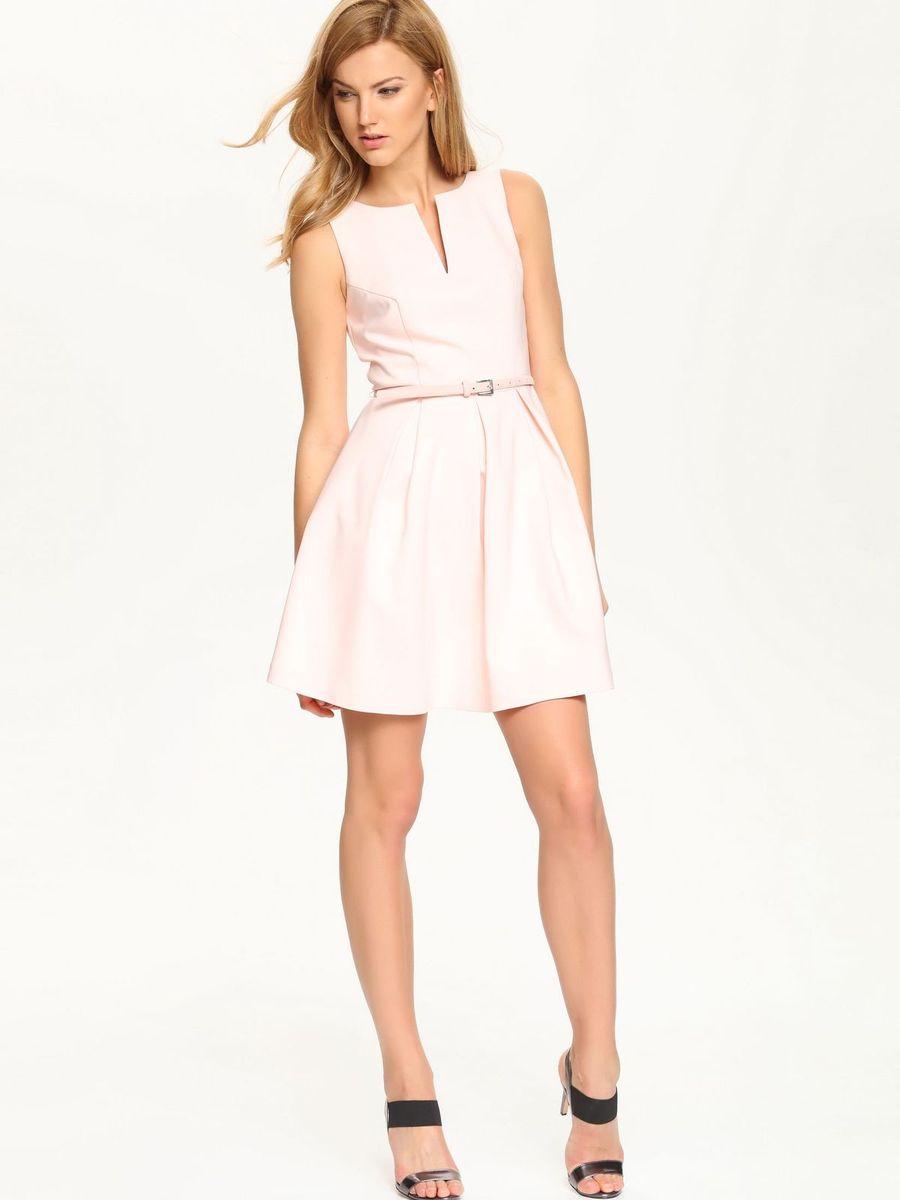 Платье Top Secret, цвет: светло-розовый. SSU1513RO. Размер 40 (46)SSU1513ROОчаровательное платье Top Secret, выполненное из хлопка с добавлением полиэстера и эластана с подкладкой из полиэстера, идеально впишется в ваш гардероб.Модель без рукавов и с V-образным вырезом горловины застегивается по спинке на потайную застежку-молнию. Изысканное платье-миди, юбка которого оформлена складками, создаст обворожительный неповторимый образ. Талию подчеркнет пояс.Это модное и удобное платье станет превосходным дополнением к вашему гардеробу. Модель подарит вам удобство и поможет вам подчеркнуть вкус и неповторимый стиль.