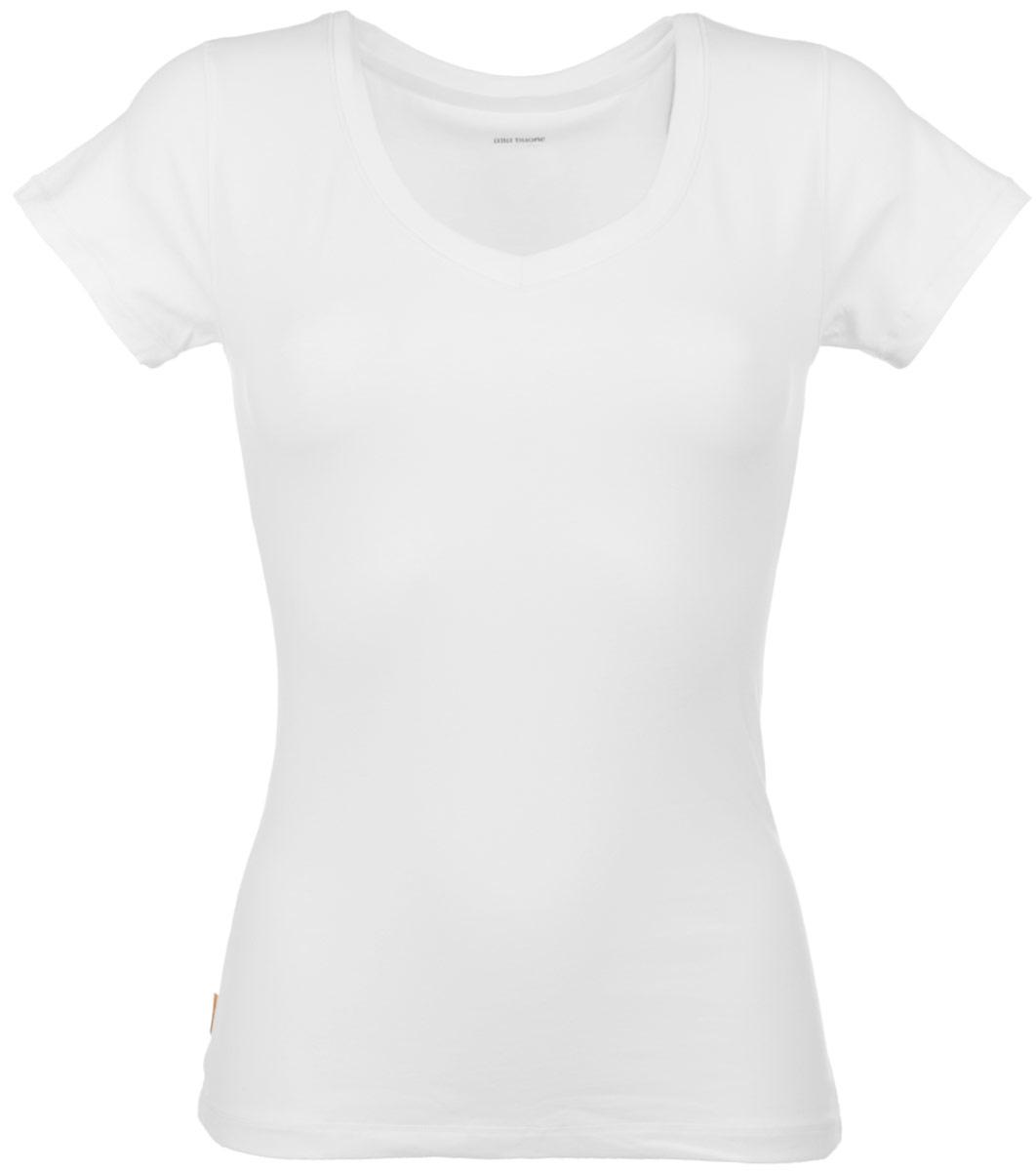 Футболка женская Alla Buone Liscio, цвет: белый. 7047. Размер L (46/48)7047Женская футболка Alla Buone Liscio, выполненная из эластичного хлопка, идеально подойдет для повседневной носки. Материал изделия мягкий, тактильно приятный, не сковывает движения и позволяет коже дышать.Футболка с V-образным вырезом горловины и короткими рукавами имеет слегка приталенный силуэт. Вырез горловины оформлен мягкой окантовочной лентой. Изделие дополнено фирменным логотипом, вшитым в боковой шов.Такая модель будет дарить вам комфорт в течение всего дня и станет отличным дополнением к вашему гардеробу.