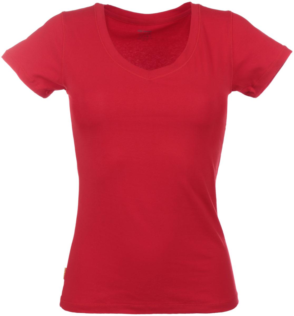 Футболка женская Alla Buone Liscio, цвет: красный. 7047. Размер L (46/48)7047Женская футболка Alla Buone Liscio, выполненная из эластичного хлопка, идеально подойдет для повседневной носки. Материал изделия мягкий, тактильно приятный, не сковывает движения и позволяет коже дышать.Футболка с V-образным вырезом горловины и короткими рукавами имеет слегка приталенный силуэт. Вырез горловины оформлен мягкой окантовочной лентой. Изделие дополнено фирменным логотипом, вшитым в боковой шов.Такая модель будет дарить вам комфорт в течение всего дня и станет отличным дополнением к вашему гардеробу.