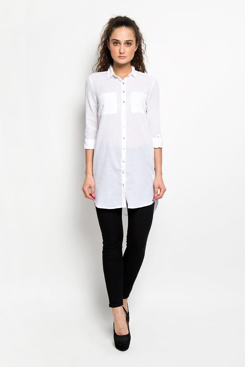 Платье-рубашка Moodo, цвет: белый. L-SU-2002 WHITE. Размер XL (50)L-SU-2002_WHITEСтильное платье-рубашка Moodo, выполненное из натурального хлопка, станет прекрасным дополнением летнего гардероба. Модель с отложным воротником и длинными рукавами застегивается спереди на пластиковые пуговицы по всей длине. Спинка немного удлинена. Спереди расположены нагрудные накладные карманы. Рукава по желанию можно закатать и зафиксировать с помощью хлястика с пуговицей. Платье-рубашка отлично будет смотреться с легинсами или узкими брюками. Это оригинальное платье-рубашка станет отличным дополнением вашего гардероба!