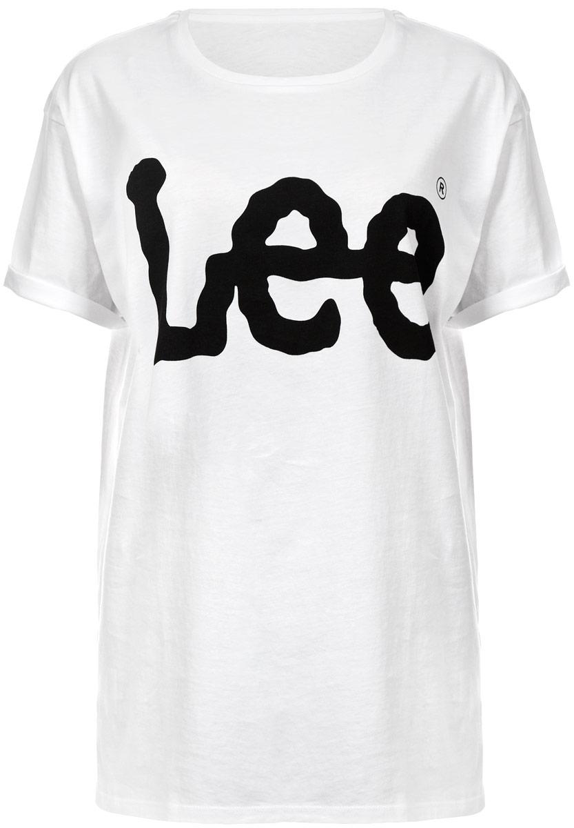 Футболка женская Lee, цвет: белый. L42OAI12. Размер L (48)L42OAI12Стильная женская футболка Lee, выполненная из натурального хлопка, необычайно мягкая и приятная на ощупь, не сковывает движения и позволяет коже дышать, обеспечивая комфорт. Модель с круглым вырезом горловины и короткими рукавами спереди оформлена надписью Lee. Рукава дополнены декоративными отворотами.Такая футболка станет отличным дополнением к вашему гардеробу.