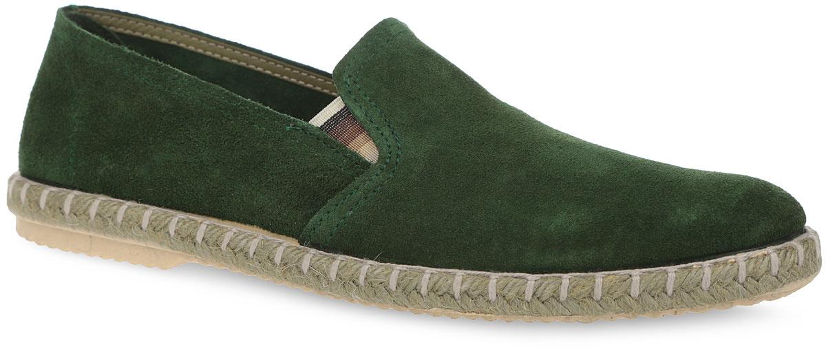 Эспадрильи мужские El Tempo, цвет: зеленый. ESL1_1007_D.GREEN. Размер 39ESL1_1007_D.GREENСтильные мужские эспадрильи от El Tempo займут достойное место в вашем гардеробе. Модель выполнена из мягкого велюра и дополнена на подъеме эластичными вставками для идеальной посадки обуви на ноге. Внутренняя часть изготовлена из велюра. Стелька из ЭВА материала с верхним покрытием из натуральной кожи позволяет ногам дышать. Верхняя часть подошвы оформлена плетеной джутовой нитью. Подошва оснащена рифлением, обеспечивающим отличное сцепление с различными поверхностями. Модные эспадрильи - незаменимая вещь в гардеробе каждого мужчины.