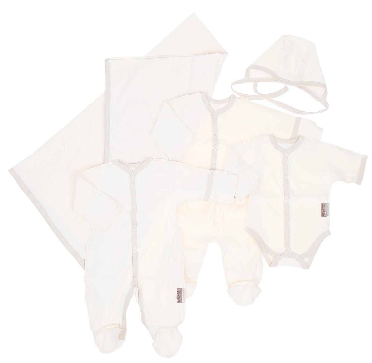 Комплект на выписку Linea di sette , цвет: молочный, 6 предметов. 08-3006. Размер 50, 0-3 месяцев08-3006Очаровательный комплект на выписку Linea di sette уникален своей возможностью использования, как при рождении девочки, так и при рождении мальчика.Комплект включает в себя шесть предметов: комбинезон, боди, кофточку, ползунки, чепчик и пеленку, которые выполнены из нежного органического хлопка.Легкий комбинезон с длинными рукавами и закрытыми ножками. Комбинезон по всей длине оснащен кнопочной застежкой, которая позволит вам легко одеть малыша.Боди с длинными рукавами и кнопочной застежкой по центру и низу изделия. Практичная застежка позволит быстро одеть или сменить подгузник малышу.Ползунки с широким эластичным поясом не стеснят движений вашего малыша.Уютная кофточка с длинными рукавами застегивается на кнопки.Тонкий хлопковый чепчик с завязками и плоскими швами защитит еще не заросший родничок, чувствительный слух малыша, а также прикрывет ушки и предохраняет от теплопотерь.День, когда малыш появился на свет - это поистине самый главный момент в жизни каждой семейной пары. День выписки из роддома - важный день не только для родителей, но и для всех родственников и друзей, вот почему красивые и удобные комплекты для новорожденных на выписку сегодня пользуются довольно высоким спросом, ведь каждая мама и папа желают показать своего ребенка во всей красе.