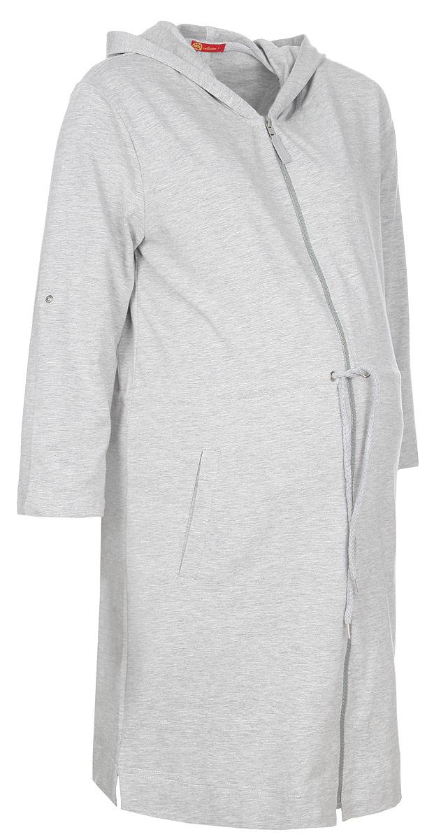 Халат для беременных и кормящих Мамин Дом, цвет: серый. 25004. Размер 48