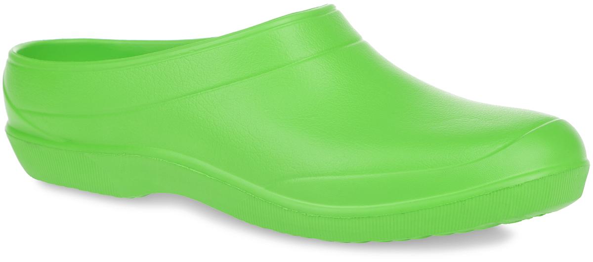 Сабо Дюна, цвет: салатовый. 604Ц. Размер 41604ЦОчень легкие сабо от Дюна с открытой пяткой и закрытым мыском, выполненные полностью из ЭВА материала - это превосходный вид обуви. Материал ЭВА имеет пористую структуру, обладает великолепными теплоизоляционными и морозостойкими свойствами, 100% водонепроницаемостью, придает обуви амортизационные свойства, мягкость при ходьбе, устойчивость к истиранию подошвы. Рифление на верхней поверхности подошвы предотвращает выскальзывание ноги. Рельефное основание подошвы обеспечивает уверенное сцепление с любой поверхностью. Удобные сабо прекрасно подойдут для работы в огороде, для похода в бассейн или на пляж.