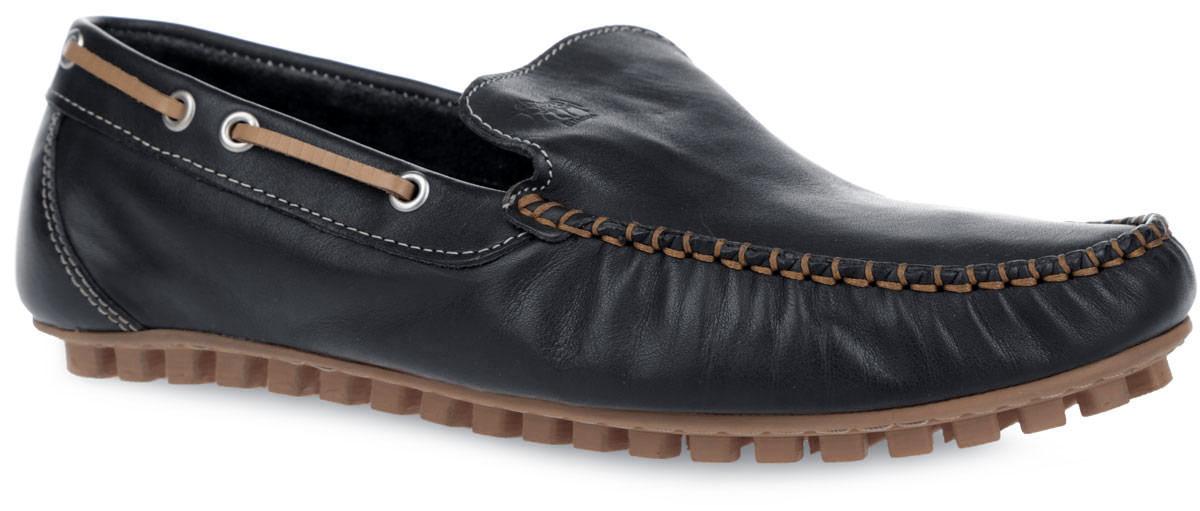 Мокасины мужские El Tempo, цвет: черный, светло-коричневый. PPH2_950_BLACK. Размер 41PPH2_950_BLACKСтильные мужские мокасины от El Tempo покорят вас своим удобством. Модель изготовлена из натуральной кожи и украшена внешним швом на мысе, фирменным тиснением на подъеме. Кант оформлен тонким кожаным шнурком контрастного цвета и металлическими люверсами. Кожаная подкладка предотвратит натирание и обеспечит уют. Стелька из ЭВА материала с верхним покрытием из натуральной кожи позволяет ногам дышать. Шипованная подошва, выполненная из резины, облегчает сцепление с поверхностью. Модные мокасины отлично подойдут для прогулок или дальних поездок.