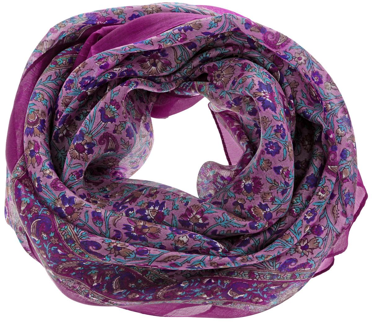 Платок женский Ethnica, цвет: малиновый, бирюзовый. 560135н. Размер 100 см х 100 см560135нСтильный женский платок Ethnica станет великолепным завершением любого наряда. Платок изготовлен из 100% шелка с использованием натуральных красителей, оформлен оригинальным орнаментом. Классическая квадратная форма позволяет носить платок на шее, украшать им прическу или декорировать сумочку. Такой платок превосходно дополнит любой наряд и подчеркнет ваш неповторимый вкус и элегантность.