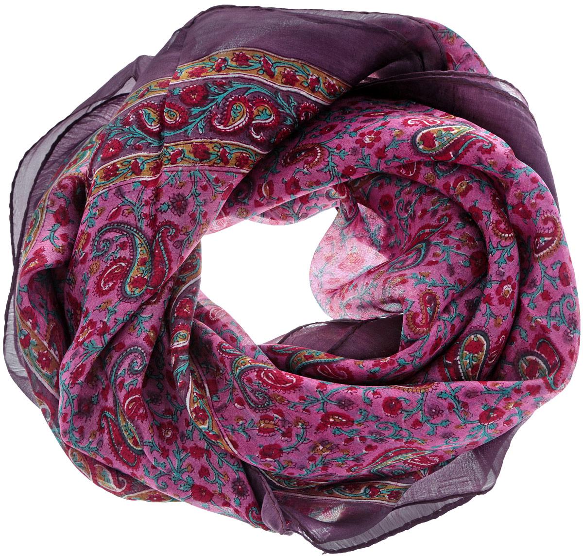 Платок женский Ethnica, цвет: темно-фиолетовый, розовый, бирюзовый. 560135н. Размер 100 см х 100 см560135нСтильный женский платок Ethnica станет великолепным завершением любого наряда. Платок изготовлен из 100% шелка с использованием натуральных красителей, оформлен оригинальным орнаментом. Классическая квадратная форма позволяет носить платок на шее, украшать им прическу или декорировать сумочку. Такой платок превосходно дополнит любой наряд и подчеркнет ваш неповторимый вкус и элегантность.