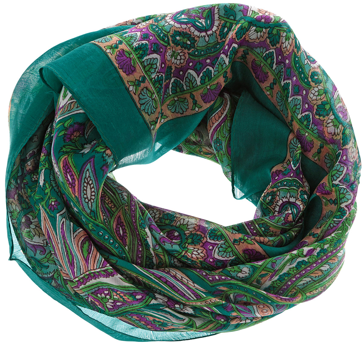 Платок женский Ethnica, цвет: изумрудный, фиолетовый, оранжевый. 560135н. Размер 100 см х 100 см560135нСтильный женский платок Ethnica станет великолепным завершением любого наряда. Платок изготовлен из 100% шелка с использованием натуральных красителей, оформлен оригинальным орнаментом. Классическая квадратная форма позволяет носить платок на шее, украшать им прическу или декорировать сумочку. Такой платок превосходно дополнит любой наряд и подчеркнет ваш неповторимый вкус и элегантность.