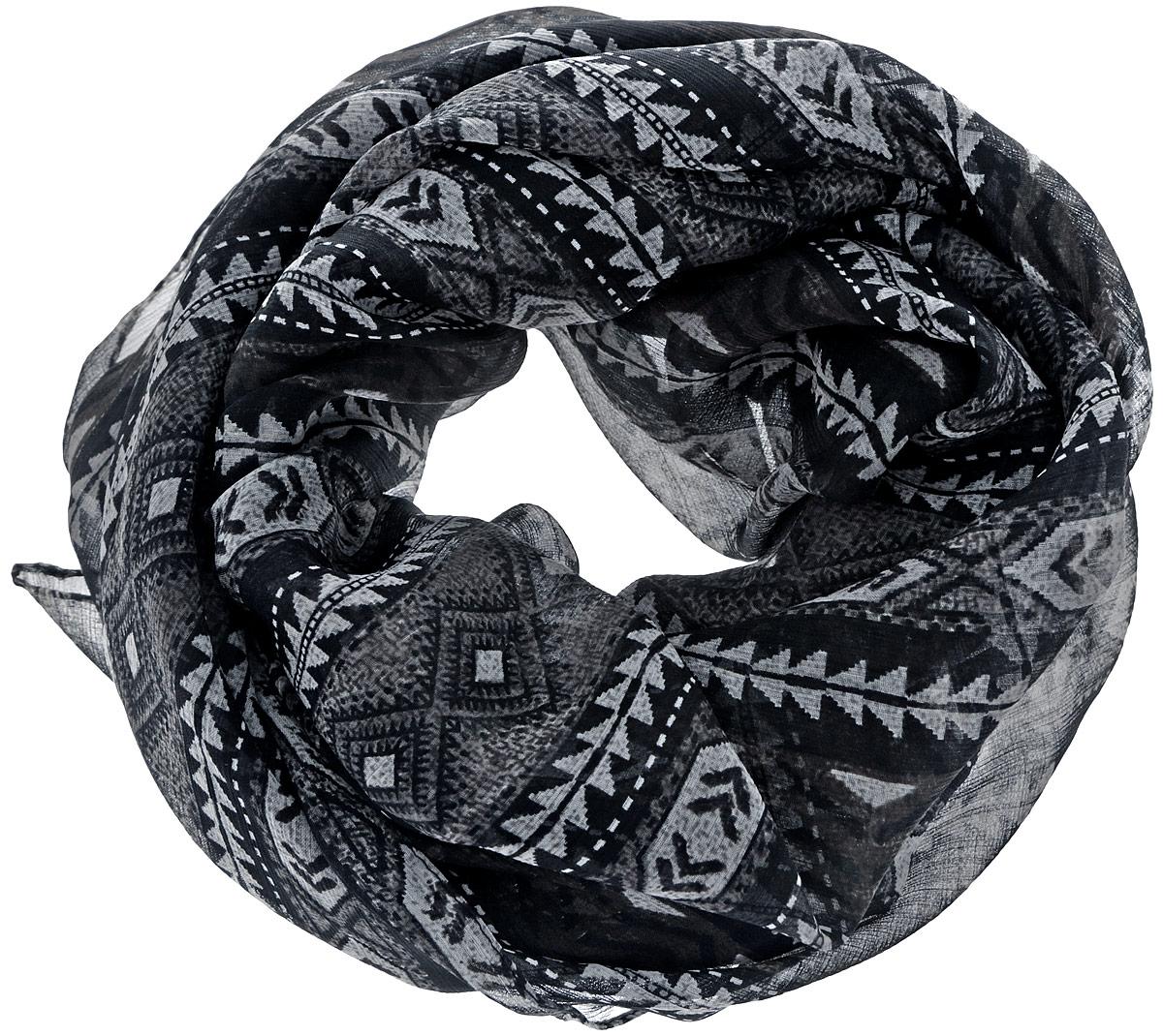 Платок женский Ethnica, цвет: черный, серый. 524040н. Размер 100 см х 100 см524040нСтильный женский платок Ethnica станет великолепным завершением любого наряда. Платок изготовлен из 100% вискозы и оформлен оригинальным принтом в полоску. Классическая квадратная форма позволяет носить платок на шее, украшать им прическу или декорировать сумочку. Такой платок превосходно дополнит любой наряд и подчеркнет ваш неповторимый вкус и элегантность.
