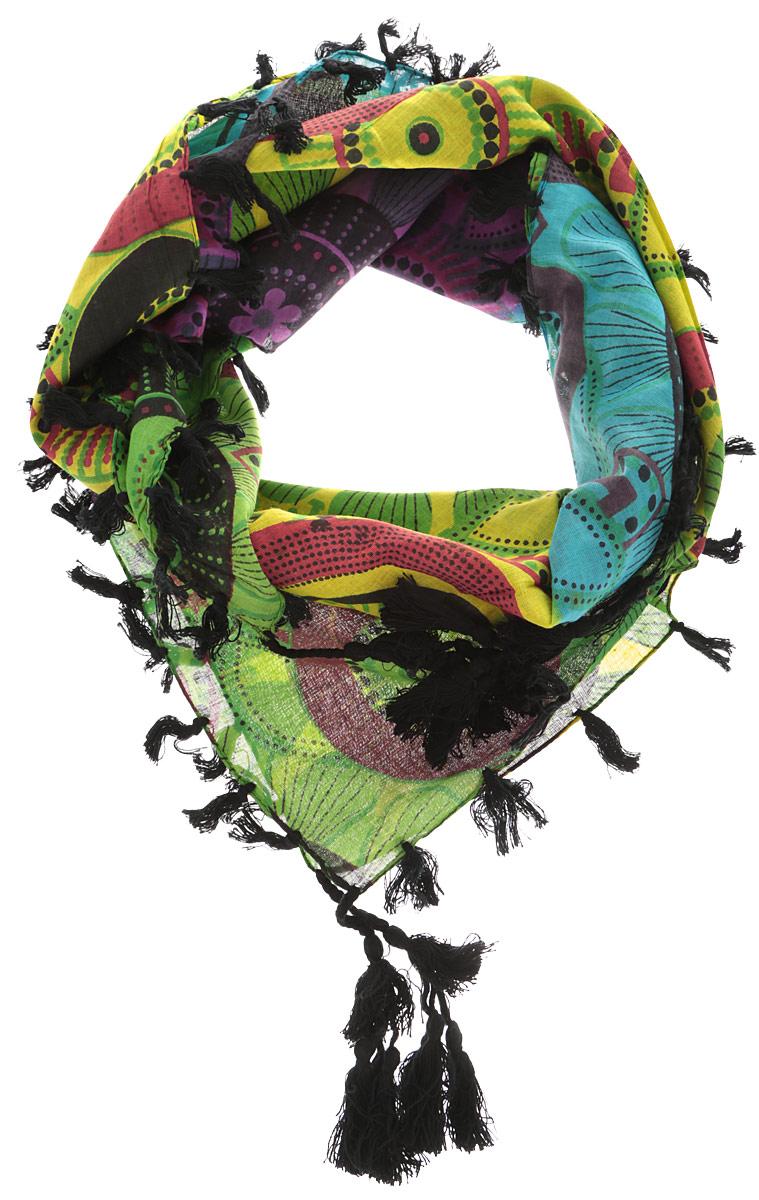 Платок женский Ethnica, цвет: зеленый, мультиколор. 558085н. Размер 100 см х 100 см558085нЭлегантный платок от Ethnica внесет изысканные нотки в ваш образ. Модель выполнена из 100% хлопка и декорирована изумительным орнаментом. Края платка оформлены оригинальной бахромой.Этот модный аксессуар женского гардероба гармонично дополнит образ современной женщины, следящей за своим имиджем и стремящейся всегда оставаться стильной и женственной.
