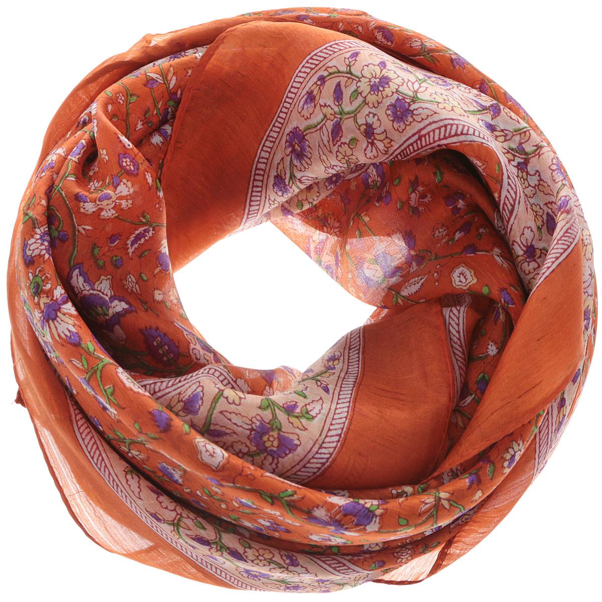 Платок женский Ethnica, цвет: кирпичный, фиолетовый, бежевый. 560135н. Размер 100 см х 100 см560135нСтильный женский платок Ethnica станет великолепным завершением любого наряда. Платок изготовлен из 100% шелка с использованием натуральных красителей, оформлен оригинальным орнаментом. Классическая квадратная форма позволяет носить платок на шее, украшать им прическу или декорировать сумочку. Такой платок превосходно дополнит любой наряд и подчеркнет ваш неповторимый вкус и элегантность.