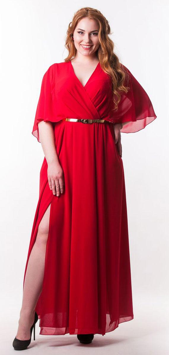 Платье Seam, цвет: темно-красный. 4730_403. Размер XL (50)4730_403Стильное платье Seam выполнено из полиэстера. Модель с глубоким V-образным вырезом горловины и рукавами-бабочками длинной до локтя. Лиф и юбка изделия дополнены мягкими складками. Спинка модели по талии присобрана на резинку. Спереди на юбке расположены разрезы. Платье-макси дополнено тонким поясом.