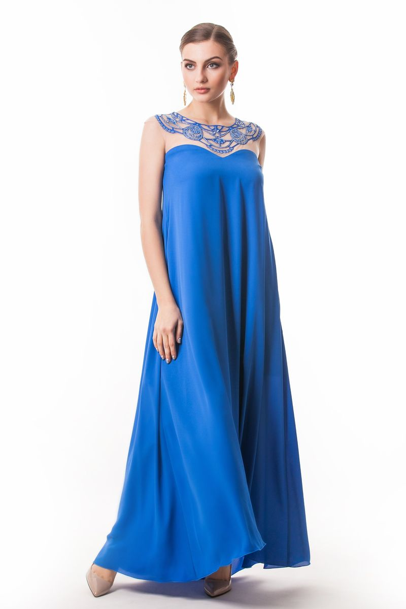 Платье Seam, цвет: синий. 4390_706. Размер L (48)4390_706Стильное платье Seam, выполненное из струящегося легкого материала, подчеркнет ваш уникальный стиль и поможет создать оригинальный женственный образ. Платье-макси с круглым вырезом горловины без рукавов придется вам по душе. Верхняя часть модели оформлена вставкой из сетчатого материала телесного цвета и оригинальной вышивкой дополненной бисером. Плате дополнено небольшим поясом. Такое платье станет стильным дополнением к вашему гардеробу.