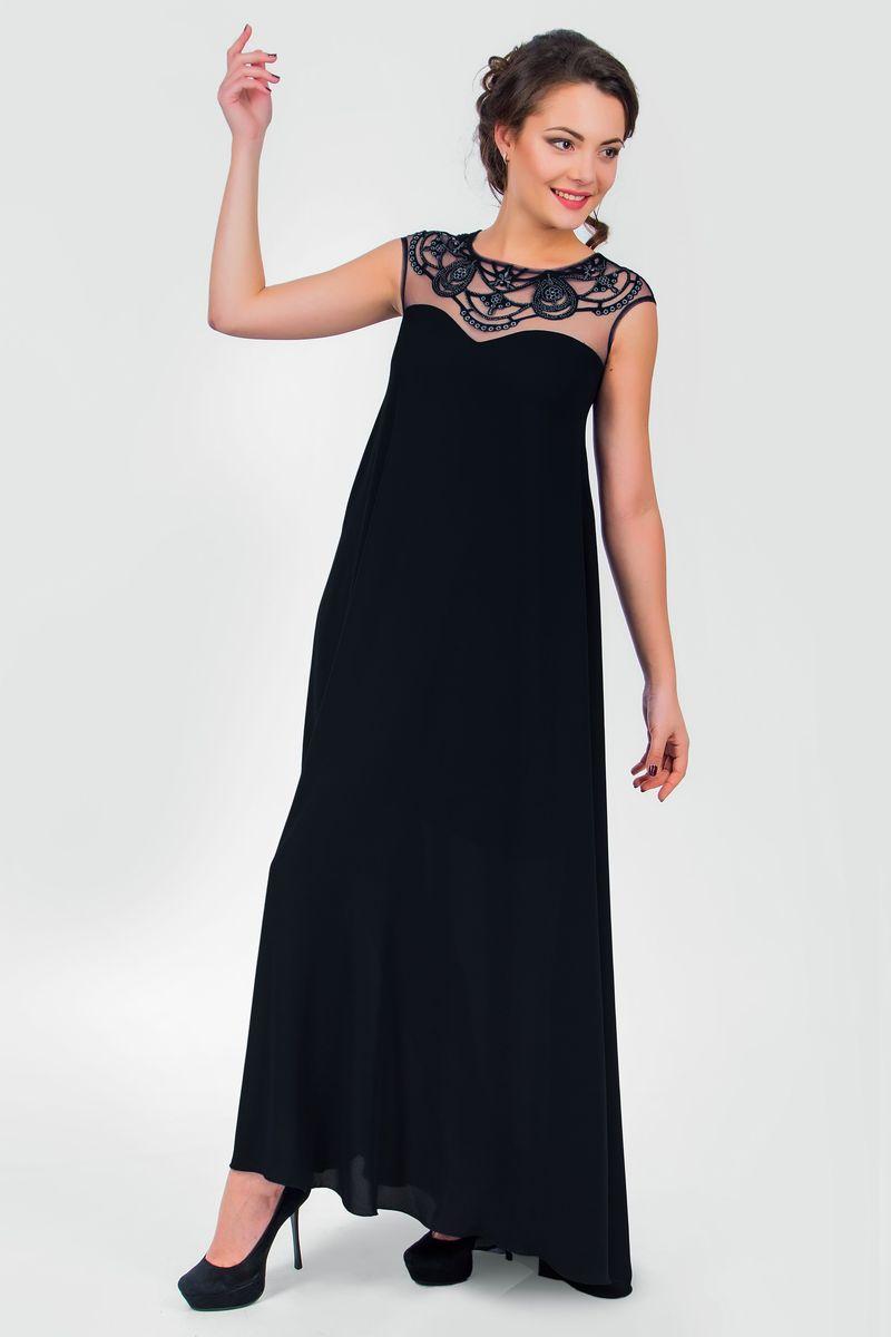 Платье Seam, цвет: черный. 4390_901. Размер L (48)4390_901Стильное платье Seam, выполненное из струящегося легкого материала, подчеркнет ваш уникальный стиль и поможет создать оригинальный женственный образ. Платье-макси с круглым вырезом горловины без рукавов придется вам по душе. Верхняя часть модели оформлена вставкой из сетчатого материала телесного цвета и оригинальной вышивкой дополненной бисером. Плате дополнено небольшим поясом. Такое платье станет стильным дополнением к вашему гардеробу.