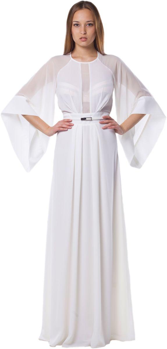Платье Seam, цвет: молочный. 4490_102. Размер S (44)4490_102Стильное платье Seam выполнено из полиэстера. Платье-макси с круглым вырезом горловины и рукавами-реглан длинной 3/4. Застегивается модель на потайную застежку-молнию расположенную в боковом шве и на небольшую навесную пуговичку по горловине. Изделие по лифу и двойной юбке оформлено мягкими складками. Линия талии сзади дополнена резинкой. К платью прилагается узкий пояс.