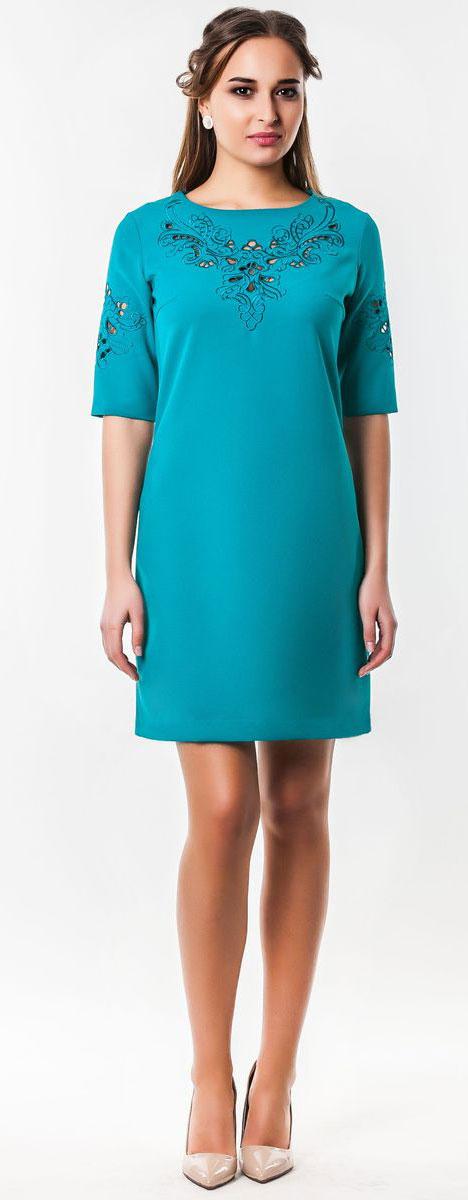 Платье Seam, цвет: темно-бирюзовый. 5010_705. Размер L (48)5010_705Очаровательное вечернее платье Seam, выполненное из высококачественного полиэстера с добавлением спандекса, оно отлично сидит по фигуре и подчеркнет ваши достоинства.Платье-миди срукавом 1/2 и круглым воротником выполнено в лаконичном однотонном стиле. Верх и рукава модели оформлены элегантной узорчатой вышивкой с небольшими прорезями.