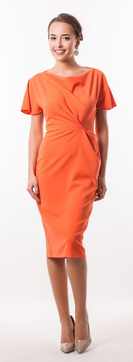 Платье Seam, цвет: оранжевый. 5040_303. Размер S (44)5040_303Очаровательное вечернее платье Seam, выполненное из высококачественного полиэстера с добавлением спандекса, оно отлично сидит по фигуре и подчеркнет ваши достоинства. Удлиненное платье-миди с короткими цельнокроеными рукавами и воротником-качели выполнено в лаконичном однотонном стиле. Спереди модель оформлена небольшой оригинальной сборкой ткани.