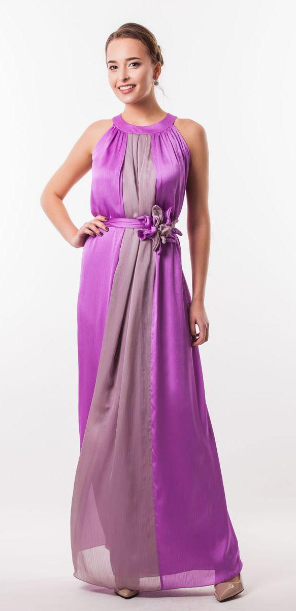 Платье Seam, цвет: орхидея. 4620_602. Размер L (48)4620_602Очаровательное вечернее платье Seam, выполненное из высококачественного полиэстера, оно отлично сидит по фигуре и подчеркнет ваши достоинства. Платье-макси без рукавов сзади на шее застегивается на две пуговицы. Модель свободного кроя от начала горловины оформлена элегантными складочками. Платье дополнено контрастным пояском, который закрепляется с помощью заколки-брошки в виде цветка.